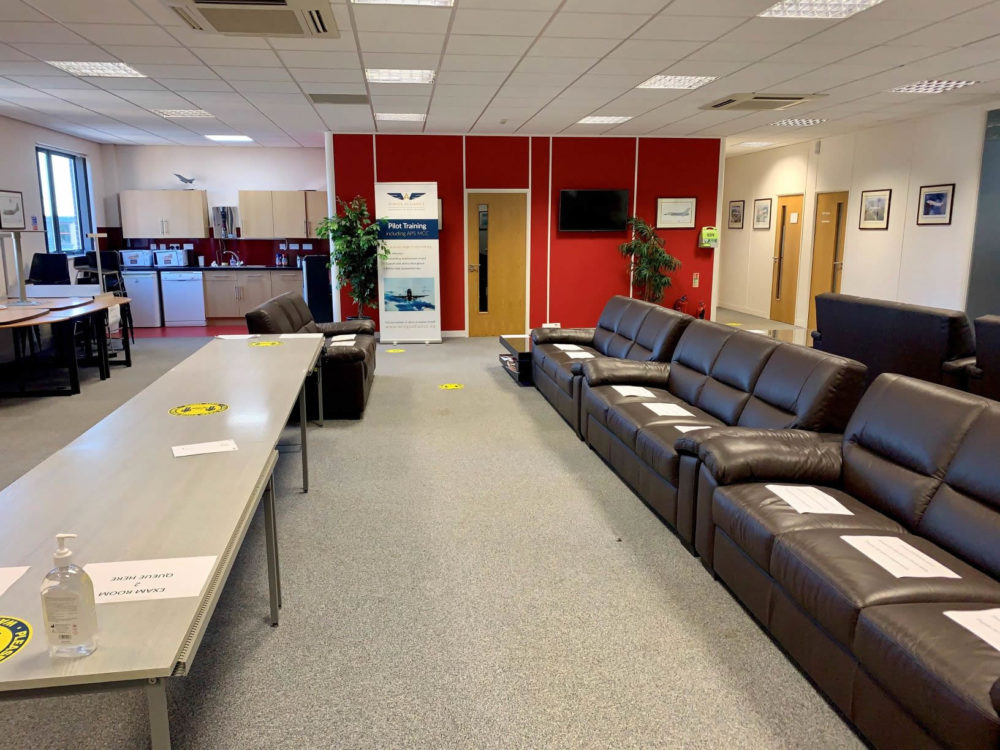 BGS Lounge reconfigured for Austro Control Exams in June 2020